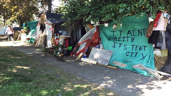 Victoria tent city to get flush toilets, running water