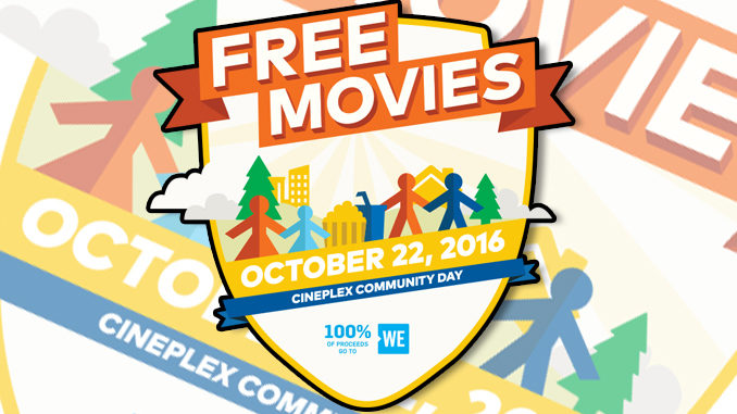 Free Movies At Cineplex Theatres On October 22, 2016