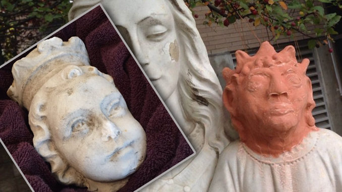 Missing Head From Jesus Statue At Sudbury, Ontario Church Recovered