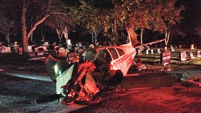 Small Plane Crash Lands At The Hillside Cemetery In Medicine Hat, Alberta