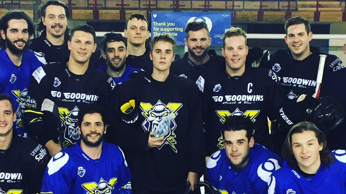 Watch Justin Bieber Score A Goal Playing With Manchester Hockey Club