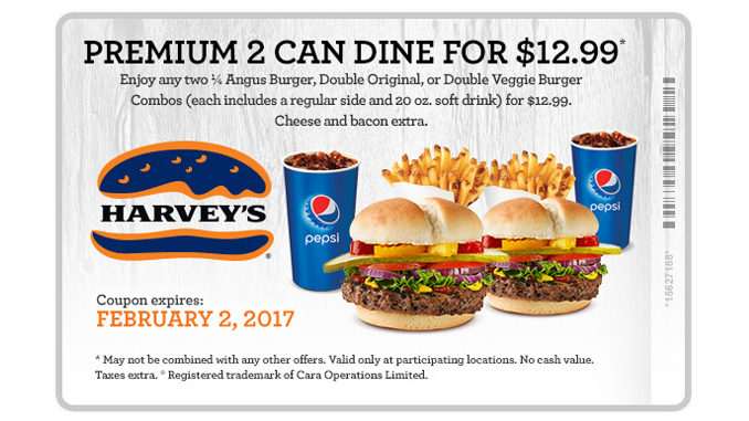Harvey's Offers Premium 2 Can Dine For $12.99 Meal Deal