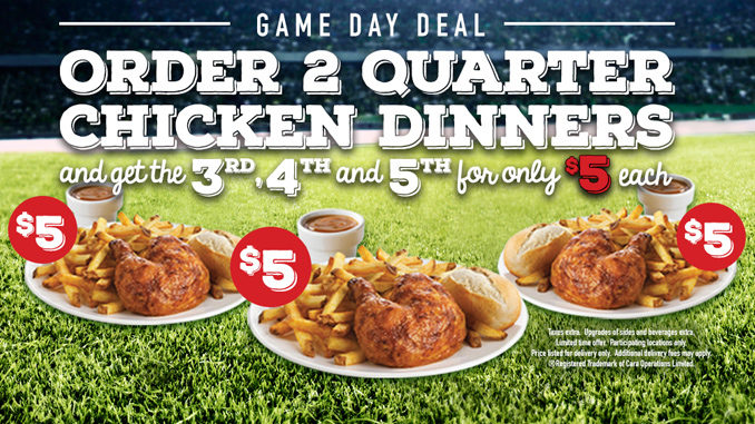 Buy 2 Quarter Chicken Dinners And Get Up To 3 More For $5 Each At Swiss Chalet