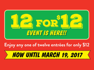 East Side Mario's Offers 12 for $12 Event Through March 19, 2017