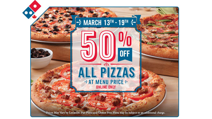 Get 50% Off All Pizzas At Domino's Canada Through March 19, 2017