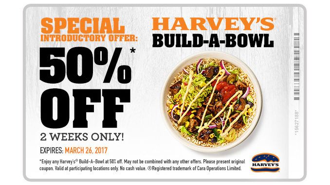 Harvey's Offers 50% Off New Build-A-Bowl Menu Items
