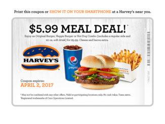 Harvey's Serves Up $5.99 Meal Deal Through April 2, 2017