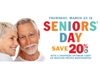 Seniors Save 20% At Shoppers Drug Mart On March 23, 2017 With Optimum Card
