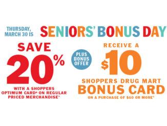 Shoppers Drug Mart Offers Seniors' Bonus Day On March 30, 2017