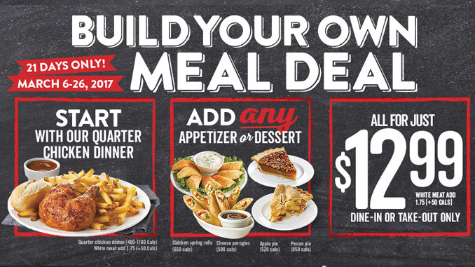 Swiss Chalet Offers Build Your Own Meal Deal Through March 26, 2017