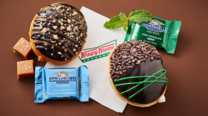 Krispy Kreme Canada Offers New Mint Chocolate And Sea Salt Caramel Doughnuts Made With Ghirardelli Chocolate