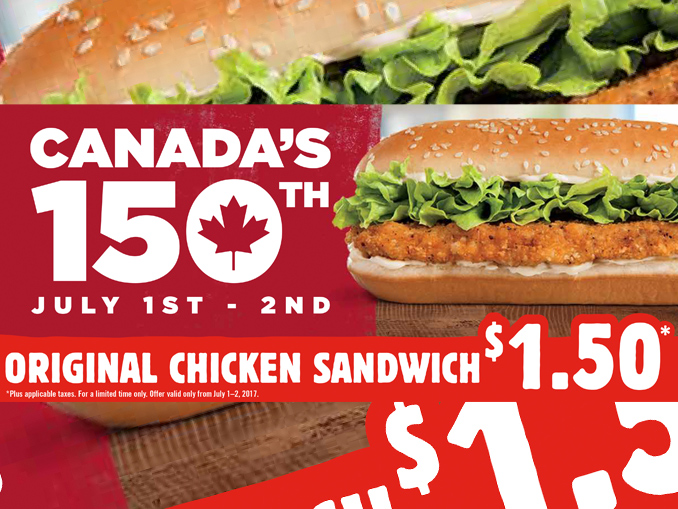 $1.50 Original Chicken Sandwiches At Burger King Canada On July 1-2, 2017