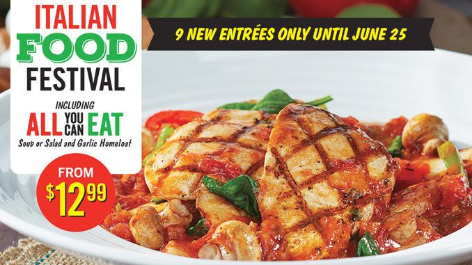 East Side Mario's Italian Food Festival Available Through June 25, 2017