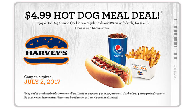Harvey's Serves Up $4.99 Hot Dog Meal Deal Through July 2, 2017
