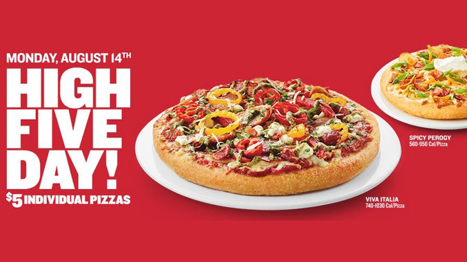 $5 Individual Pizzas At Boston Pizza On August 14, 2017