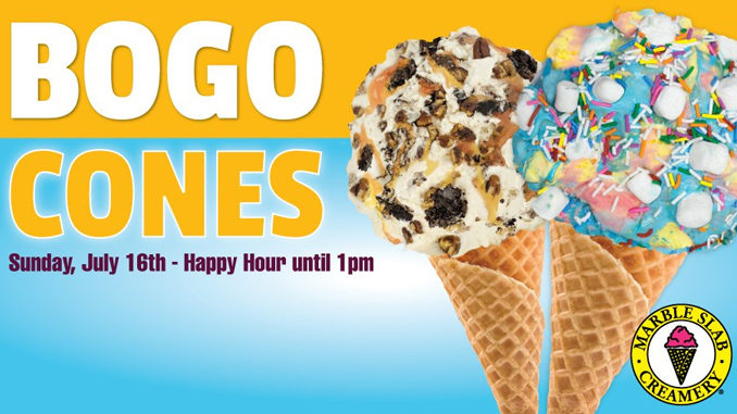 Buy One, Get One Free Cone At Marble Slab Canada On July 16, 2017