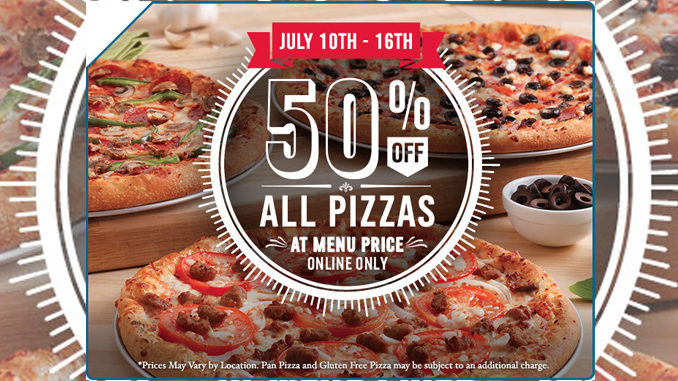 Domino's Canada Offers 50% Off All Pizzas Ordered Online Through July 16, 2017