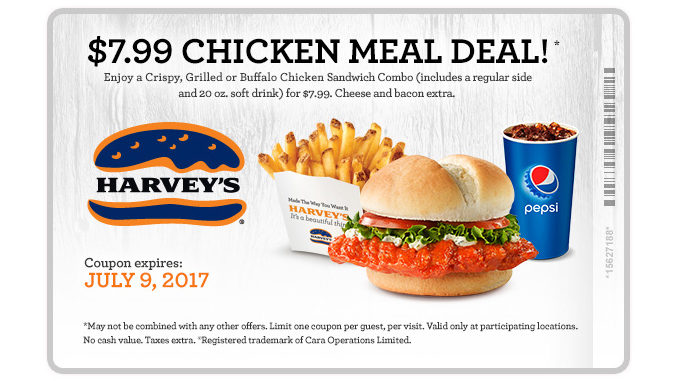 Harvey's Offers $7.99 Chicken Meal Deal Through July 9, 2017