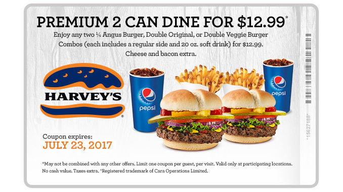 Harvey's Offers Premium 2 Can Dine For $12.99 Through July 23, 2017