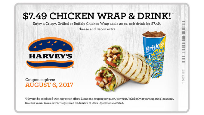 Harvey's Serves $7.49 Chicken Wrap And Drink Deal Through August 6, 2017