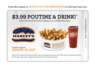 Poutine And Drink For $3.99 At Harvey's Through August 13, 2017