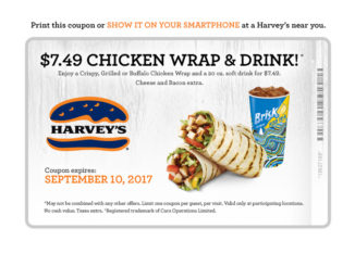 $7.49 Chicken Wrap And Drink Deal At Harvey's Through September 10, 2017