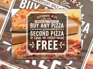 Buy Any Pizza, Get A Second Pizza Free At Domino's Canada Through September 24, 2017