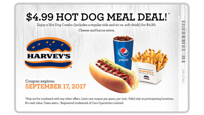 Harvey's Offers $4.99 Hot Dog Meal Deal Through September 17, 2017