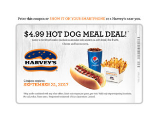 Harvey's $4.99 Hot Dog Meal Deal Extended Through September 21, 2017