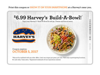 $6.99 Build-A-Bowl Deal At Harvey's Through October 5, 2017