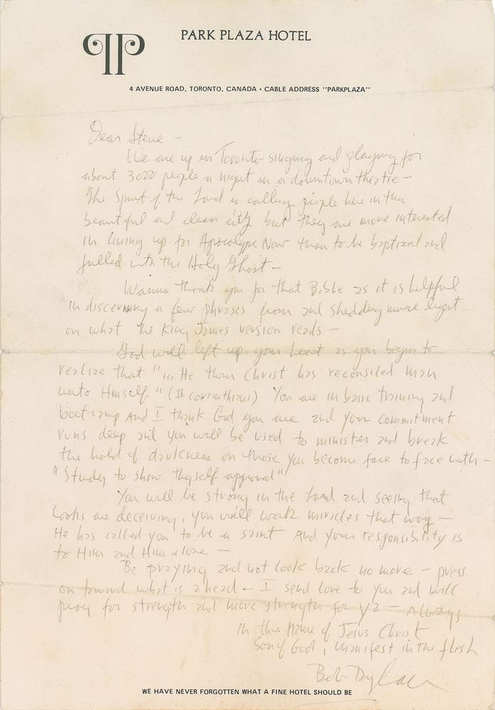 Bob Dylan Toronto Letter