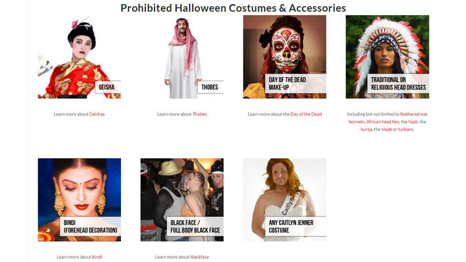 Brock University Has A List Of Prohibited Halloween Costumes And Accessories