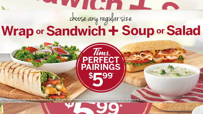 Tim Hortons Offers New Perfect Pairings Deal For $5.99