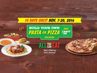 Build Your Own Pizza Or Pasta For $12.99 Is Back At East Side Mario's