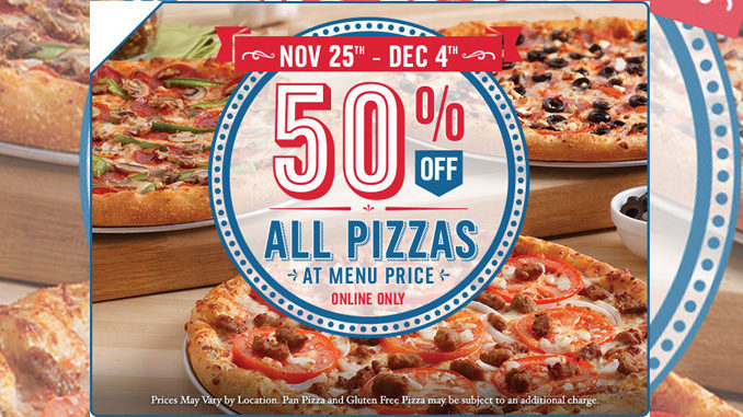 Domino's Canada Offers 50% Off All Pizzas Through December 4, 2016
