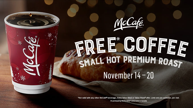 Free Coffee At McDonald's Canada November 14-20, 2016