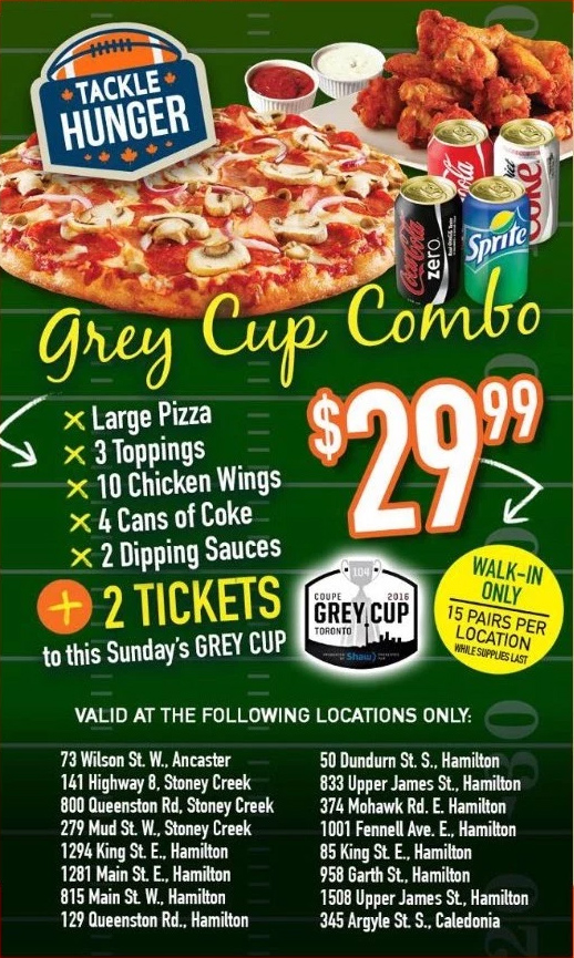 CFL Shuts Down Grey Cup Pizza Combo Promotion - Canadify