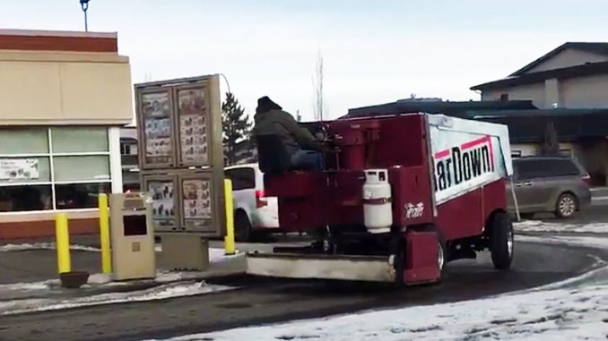 Watch This Man Take A Zamboni Through Tim Hortons Drive-Thru