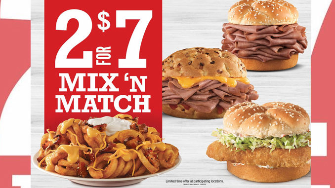 Arby s canada offers 2 for 7 mix n match deal canadify for Arby s fish sandwich 2017