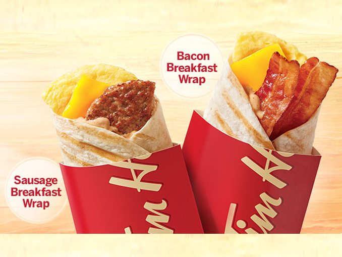 tim hortons offers 2 99 grilled breakfast wrap and coffee deal