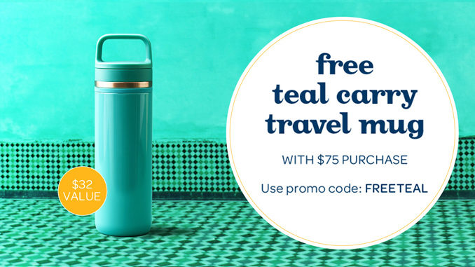 DAVIDsTEA Offers Free Teal Carry Travel Mug With $75 Purchase Through February 20, 2017