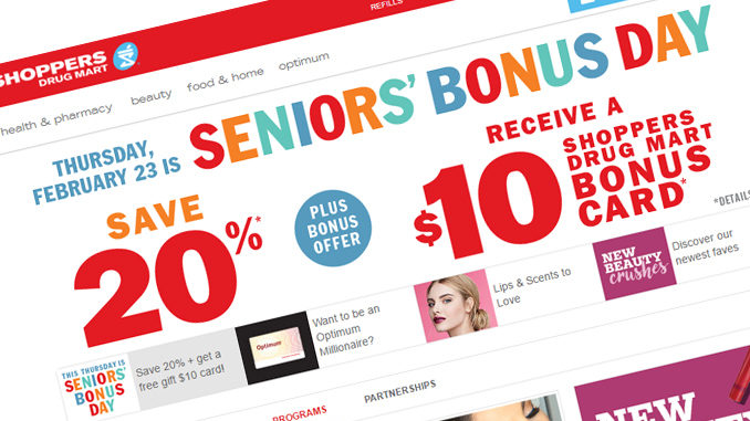 It's Seniors' Bonus Day At Shoppers Drug Mart On February 23, 2017