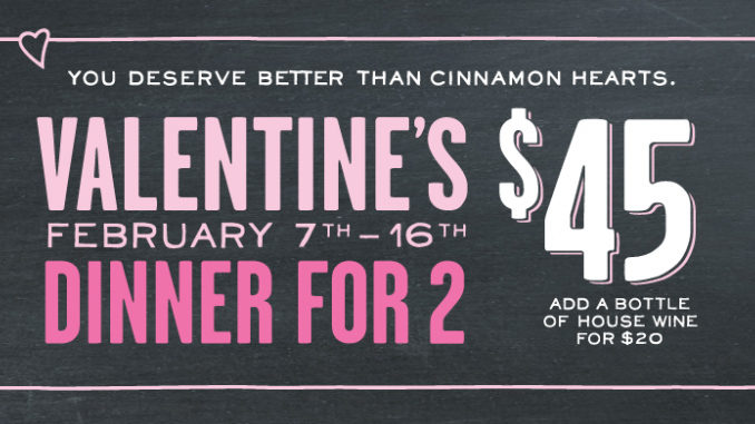 Jack Astor's Offers $45 Valentine's Dinner For 2 Through February 16, 2017