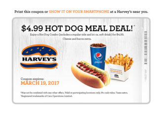 Harvey's Offers $4.99 Hot Dog Meal Deal Through March 19, 2017