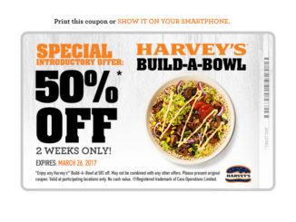 Harvey's Offers 50% Off New Build-A-Bowl Menu Items