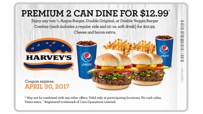 Harvey's Offers Premium 2 Can Dine For $12.99 Deal Through April 30, 2017