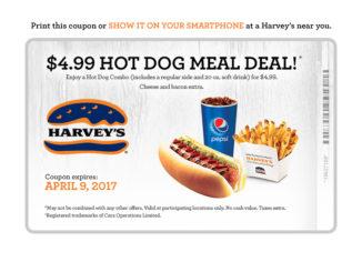 Harvey's Serves Up $4.99 Hot Dog Meal Deal Through April 9, 2017