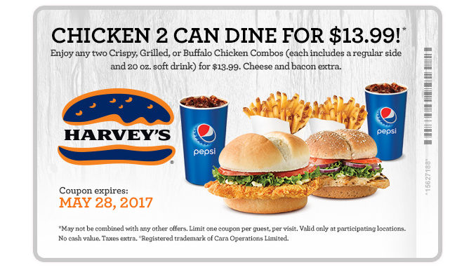 Harvey's Offers 2 Can Dine For $13.99 Chicken Meal Deal Through May 28, 2017