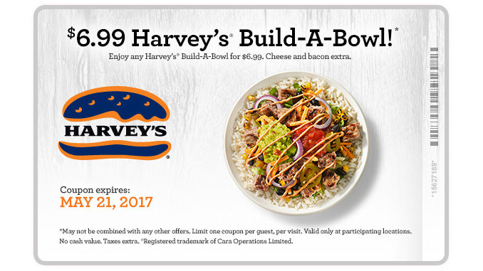 Harvey's Offers $6.99 Build-A-Bowl Through May 21, 2017