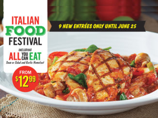 East Side Mario's Italian Food Festival Available Through June 25, 2017
